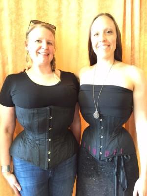 Christina and Kristl wearing our custom Iris corsets